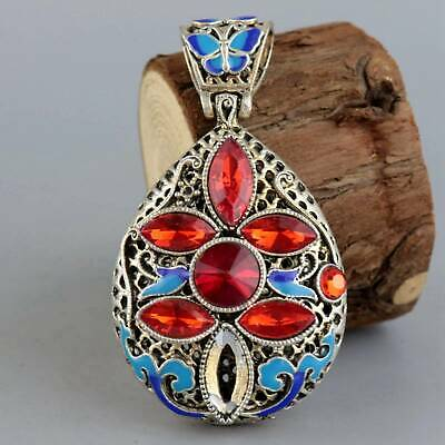 Collect Old Miao Silver Cloisonne Hand-Carved Delicate Hollow Out Decor Pendant