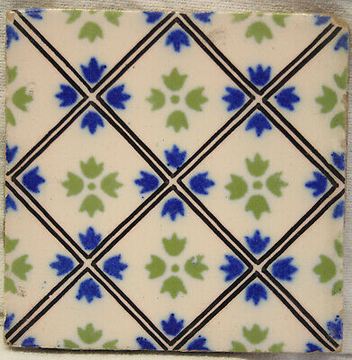17th 18th Century DUTCH DELFT TILE POLYCHROME ORNAMENTAL FLORAL PATTERN