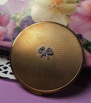 Vintage Collectable Textured gold silver Marcasite bow Vanity Powder Compact