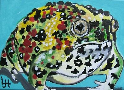 """A544   Original Acrylic Aceo  Painting By Ljh  """"Holy Cross Frog"""""""