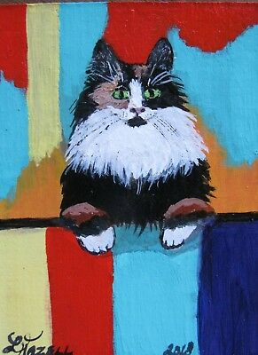 """A664       Original Acrylic Aceo  Painting By Ljh         """"Patches"""""""