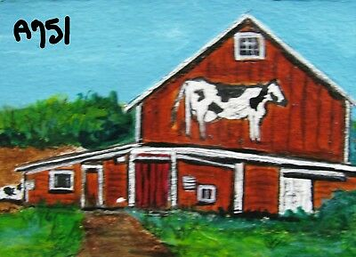 """A751       Original Acrylic  Aceo Painting By Ljh       """"Cow Barn"""""""