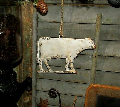 Primitive Antique Vtg Style House Dairy Farm Cow Embossed Hanging Metal Tin Sign