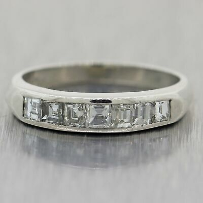 1930's Antique Art Deco Platinum 0.50ctw Asscher Cut Diamond Band Ring