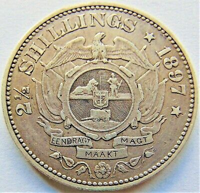 1897 ZAR SOUTH AFRICA, Kruger silver 2 1/2 Shillings grading  VERY FINE.