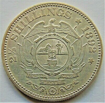 1892 ZAR SOUTH AFRICA, Kruger silver. 2 1/2 Shillings grading  Good VERY FINE.