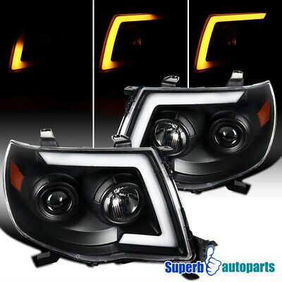 For 2005-2011 Tacoma LED Sequential Switchback Signal Black Projector Headlights