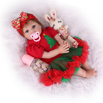 "22""Reborn Baby Doll Silicone Vinyl Handmade Girl Smile Xmas Gift Newborn Clothes"