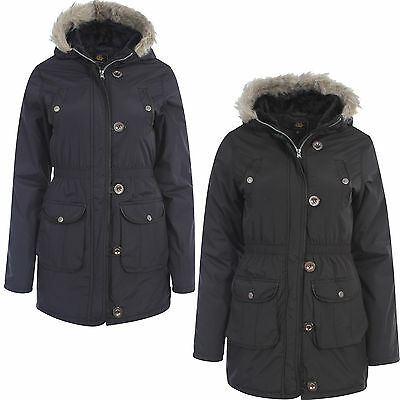 Girls Brave Soul Parka Parker Padded Military Winter Jacket Faux Fur Hooded Coat