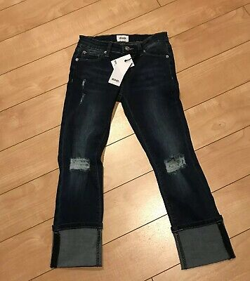 Hudson Girls Skinny Crop Roll Cuff Jeans Size 12 Classic Blue Nwts Distressed