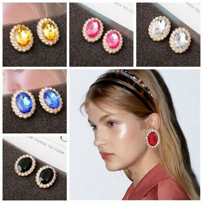 Boho Fashion Womens Multi-Color Rhinestone Crystal Oval Drop Ear Stud Earrings