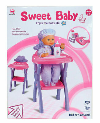 Sweet Baby Doll Role Play Pink Feeding High Chair Folding Toy Ideal Gift For Kid