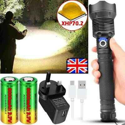 Powerful 999000LM Flashlight XHP70 XHP50 LED Torch Rechargeable Headlamp Fishing