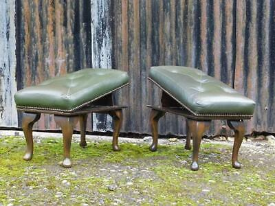 A Good Pair Of Vintage Green Leather Stools Adjustable Foot Stools