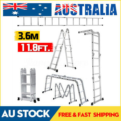 3.6m/11.8ft Multi purpose Folding Ladder Aluminum Extension Ladder Step Scaffold