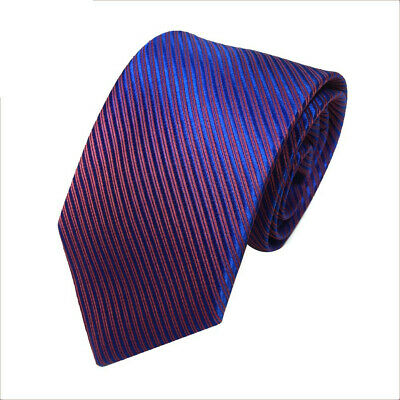 Mens Classic Jacquard Woven Striped Necktie Men's Tie Party Wedding Tie Blue Red