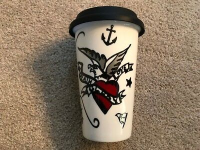 Tattoo Porcelain Hot/Cold Travel Mug with Silicone Lid - New In Box!