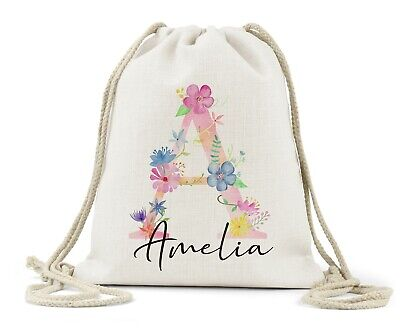 Personalised Drawstring Bag, Girls Floral Butterfly Letter P.E School Nursery