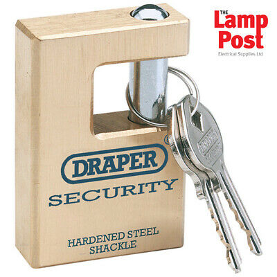 Draper 64201 Expert 63mm Quality Close Shackle Solid Brass Padlock and 2 Keys