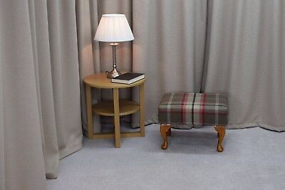 Small Foot Stool Pouffe Upholstered Balmoral Rosso Fabric Queen Anne Legs