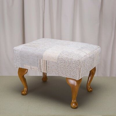 Small Foot Stool Pouffe Upholstered in Maida Patchwork Linen Fabric Queen Anne