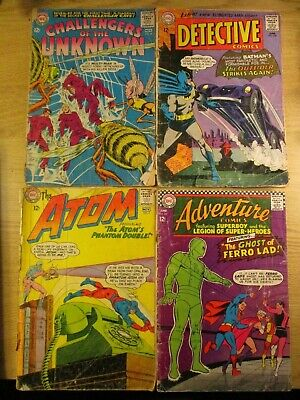 4 Fair / Poor Condition  Dc Silver Age Comics Atom, Detective, Aquaman, Etc