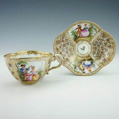 Antique Meissen Dresden Porcelain - Hand Painted Courting Couple - Cup & Saucer