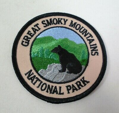 Great Smoky Mountains National Park Black Bear Round Iron on Patch