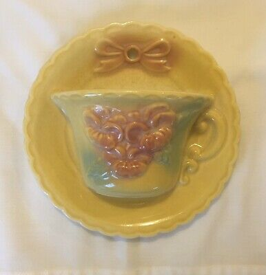 Hull Pottery SUN GLOW Wall Pocket CUP & SAUCER Flower Planter (Bow Knot Design)