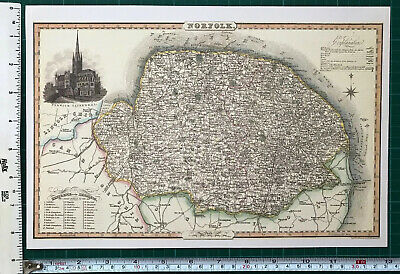 Old Victorian Map of Norfolk, Norwich 1840 Pigot: Historical, Antique: Reprint