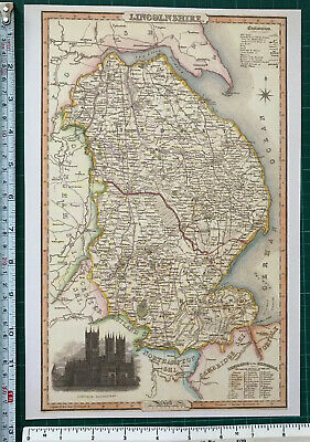 Old Victorian Map of Lincolnshire 1840 Pigot: Historical, Antique: Reprint