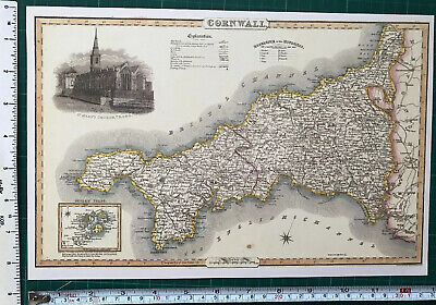 Old Victorian Map of Cornwall, England 1840 Pigot: Historical, Antique: Reprint