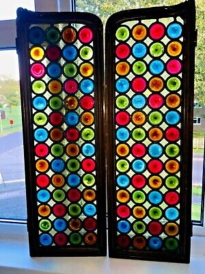 Antique French Victorian Stained Glass Panels Window Shutters Bullseye Roundells