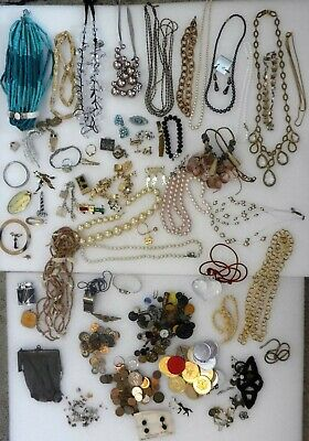 Vintage Costume Jewelry Tokens Foreign Coins Buttons Marbles Junk Drawer Rings
