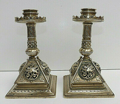 Late 18th Early 19th Century Pair Of Ecclesiastic Brass Altar Candlesticks