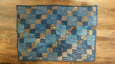 Small Old Blue Calico Doll Comforter..