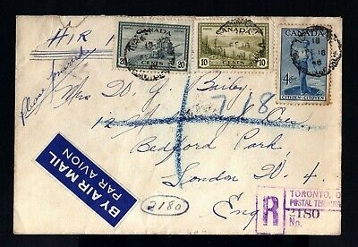 8246-CANADA-REGISTERED COVER TORONTO to LONDON (england) 1948.WWII.British