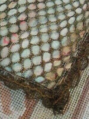 Antique French Silk With Metallic Net Overlay & Cluny Border Tablecloth Topper