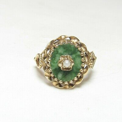Estate 14K Yellow Gold 1.00 Ct Natural Oval Green Jade And Pear Ring