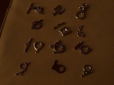 12 Jewellery  Catches Various Sizes Copper Tone , Gold Tone & Tibetan Silver