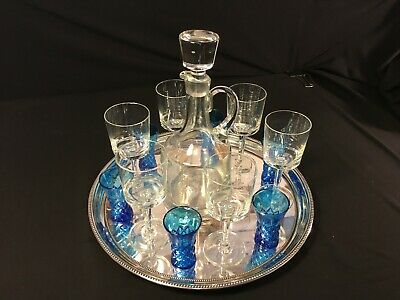 """TOWLE 14"""" Silverplate Serving Tray w/ Glass Decanter, Cordial and Shot Glasses"""