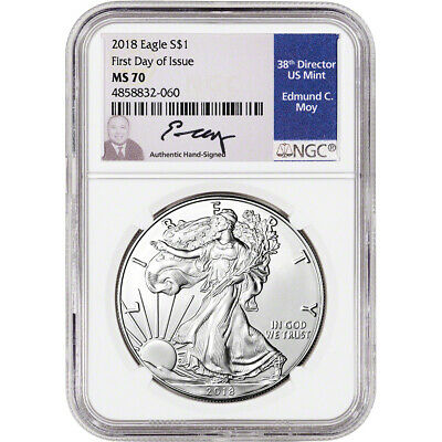2018 American Silver Eagle - NGC MS70 - First Day of Issue Moy Signed