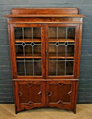 Antique 1930's Art Deco Style Oak Glazed Bookcase Cupboard Cabinet
