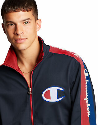 Champion Life Track Jacket Men's Big C Logo Taping Pockets Polyester Shell NWT
