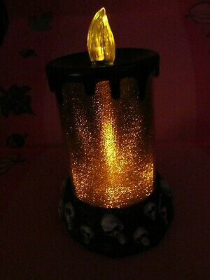 Halloween LED Candle Skeleton Skulls Bones Black Orange Flickering Flame Safe