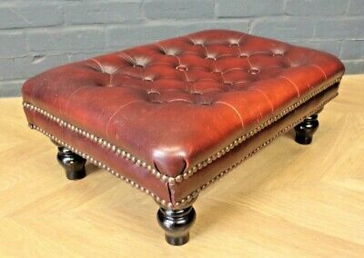 Antique Red Leather Chesterfield Style Four Legged Stool Footstool