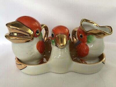 Vintage Art Deco Porcelain Made in Japan Orange Birds Luster Cruet Set