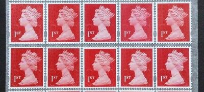 50 x 1st Class Red Unfranked Security Stamps PEEL & STICK ORIGINAL GUM