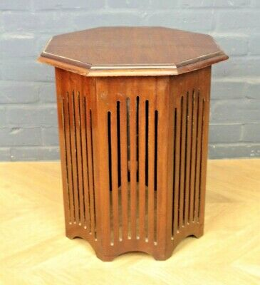 Antique Arts & Crafts Mahogany Octagonal Occasional Side Wine Lamp Table