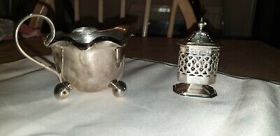 Antique Silver Plated Footed Vinaigrette With Lidded Top & Sauce Boat Vgc